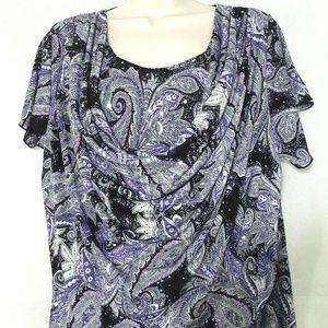 Dressbarn Draped Top Shirt Size 1X Black Purple